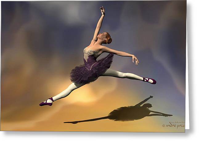 Prima Ballerina Digital Art Greeting Cards - Prima ballerina Georgia Grand Jete pose Greeting Card by Andre Price