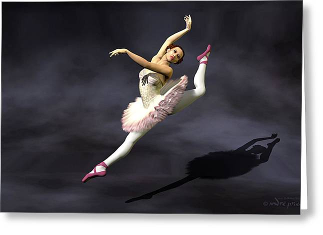Prima Ballerina Digital Art Greeting Cards - Prima ballerina Heaven Grand Jete pose Greeting Card by Andre Price