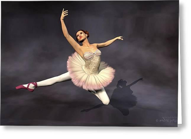 Prima Ballerina Digital Art Greeting Cards - Prima ballerina Heaven Jete Leap pose Greeting Card by Andre Price