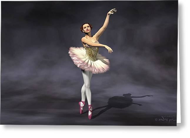 Prima Ballerina Digital Art Greeting Cards - Prima ballerina Heaven on Pointe pose Greeting Card by Andre Price