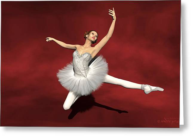 Prima Ballerina Digital Art Greeting Cards - Prima ballerina Kiko Jete Leap pose Greeting Card by Andre Price