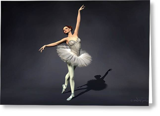 Prima Ballerina Digital Art Greeting Cards - Prima ballerina Nanashi Croise Derriere pose Greeting Card by Andre Price