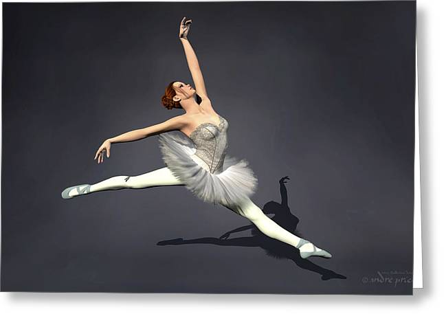Prima Ballerina Digital Art Greeting Cards - Prima ballerina Nanashi Grand Jete pose Greeting Card by Andre Price