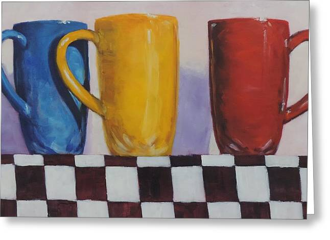 Coffee Drinking Paintings Greeting Cards - Primarily Coffee Greeting Card by Bill Tomsa