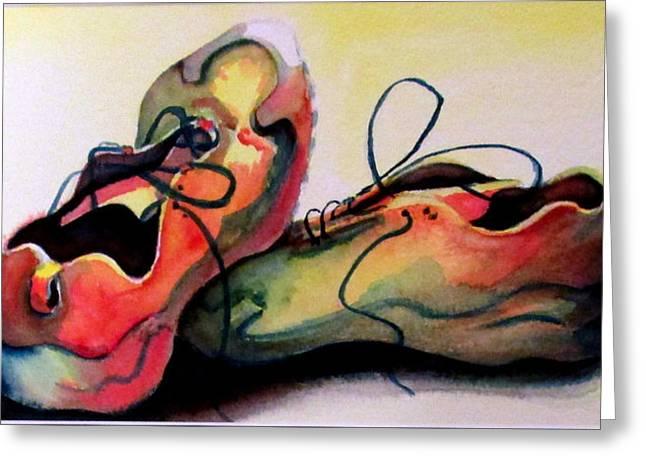 Sneakers Paintings Greeting Cards - Primarily Sneakers Greeting Card by Mary Kay Holladay