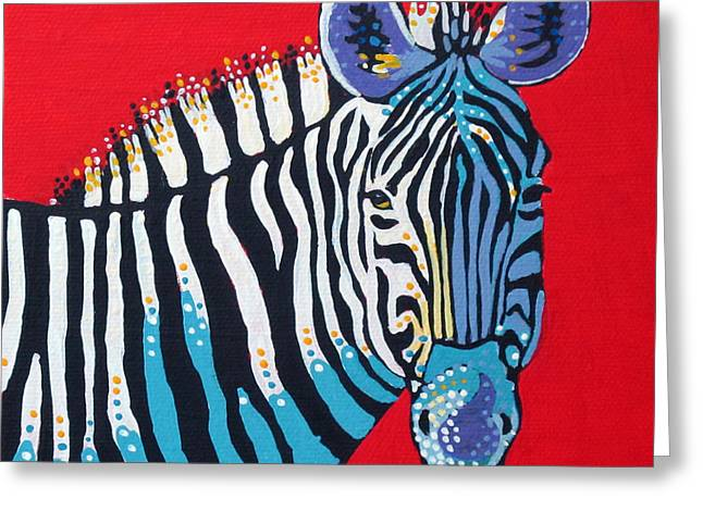 Primarily Zebra Greeting Card by Dorothy Jenson