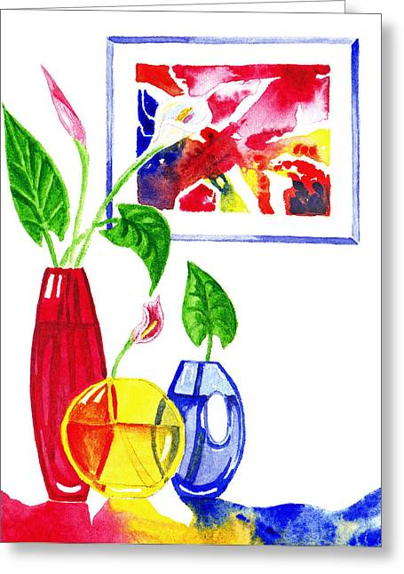 Pouring Paintings Greeting Cards - Primary Colors Design Greeting Card by Irina Sztukowski