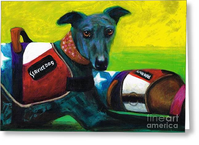 Greyhound Dog Greeting Cards - Primary Colors Greeting Card by Frances Marino