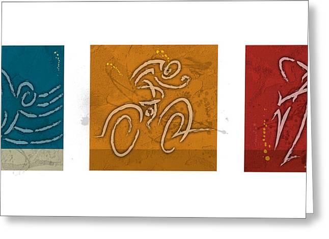 Ironman Paintings Greeting Cards - Primary Colors Triathlon Triptych Greeting Card by Alejandro Maldonado