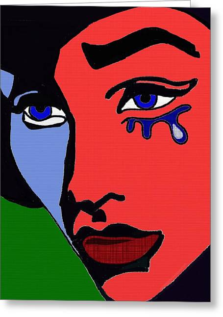 Distraught Paintings Greeting Cards - Primary colours Greeting Card by Helen Bowman