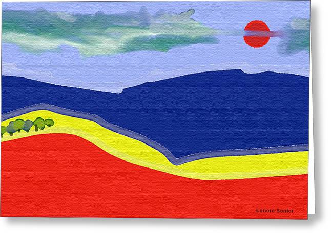 Abstract Expressionist Greeting Cards - Primary Landscape Greeting Card by Lenore Senior