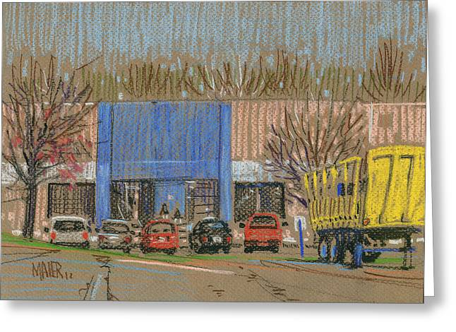 Dock Pastels Greeting Cards - Primary Loading Docks Greeting Card by Donald Maier