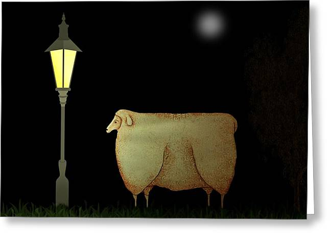 Lamplight Greeting Cards - Primitive Sheep Midnight Snack by Lamplight Greeting Card by Movie Poster Prints