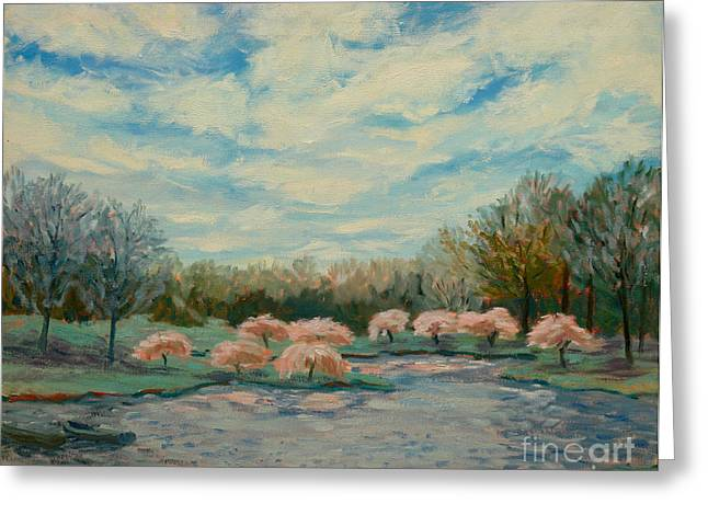 Pond In Park Greeting Cards - Primavera Greeting Card by Monica Caballero