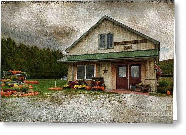 Vermont Country Store Greeting Cards - Primitive Country Barn Greeting Card by Deborah Benoit