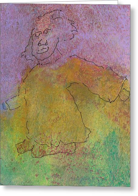 Purple Robe Mixed Media Greeting Cards - Primitive giant Greeting Card by Catherine Redmayne