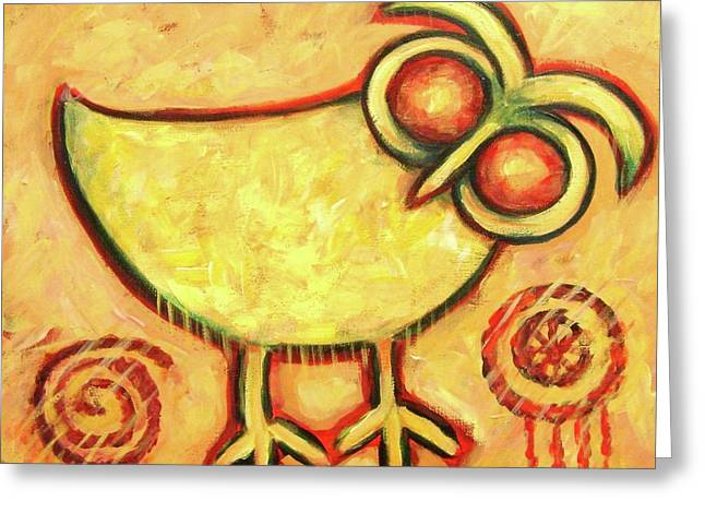 Abstract Owl Greeting Cards - Primitive Owl Greeting Card by Carol Suzanne Niebuhr