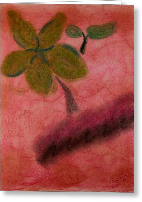 Primitive Pastels Greeting Cards - Primitive Plant Greeting Card by Robyn Louisell