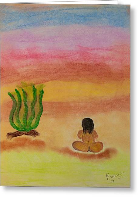 Sitting Pastels Greeting Cards - Primitive Woman Sitting Greeting Card by Robyn Louisell