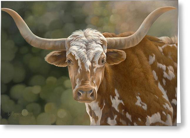 Steer Greeting Cards - Primo  Greeting Card by Laura Regan