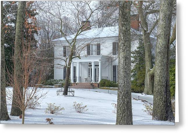 Historic Snowy Mansion Greeting Cards - Primrose Cottage in the snow Greeting Card by Steve Grundy