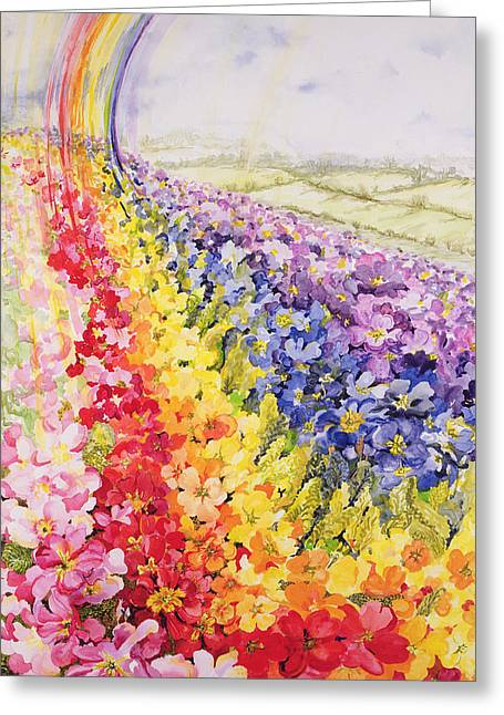 Cheery Greeting Cards - Primrose Rainbow Greeting Card by Joan Thewsey