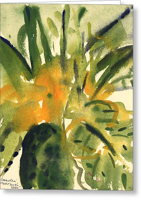Best Sellers -  - Green And Yellow Abstract Greeting Cards - Primroses Greeting Card by Claudia Hutchins-Puechavy