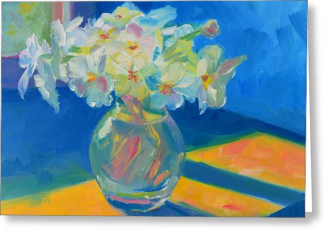 Primroses Greeting Cards - Primroses in Spring Light - Still Life Greeting Card by Patricia Awapara