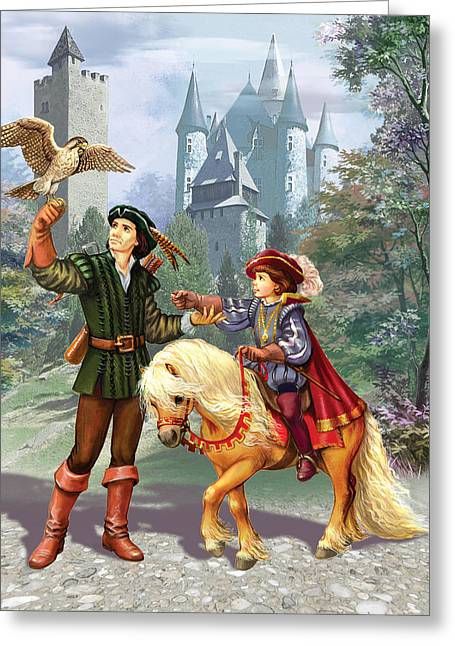 Courage Photographs Greeting Cards - Prince and falconer Greeting Card by Zorina Baldescu