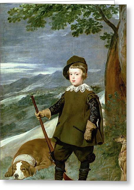 Whippet Greeting Cards - Prince Balthasar Carlos 1629-49 Dressed As A Hunter, 1635-36 Oil On Canvas Greeting Card by Diego Rodriguez de Silva y Velazquez