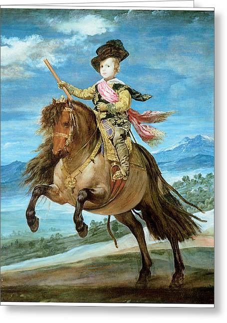 Balthasar Greeting Cards - Prince Balthasar Carlos on Horseback Greeting Card by Diego Rodriguez de Silva y Velazquez