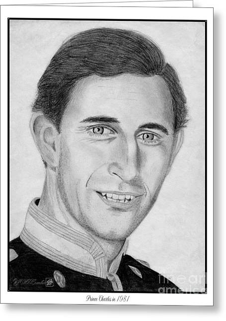 Fame Drawings Greeting Cards - Prince Charles in 1981 Greeting Card by J McCombie