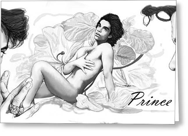 Princes Greeting Cards - Prince drawing art sketch poster Greeting Card by Kim Wang