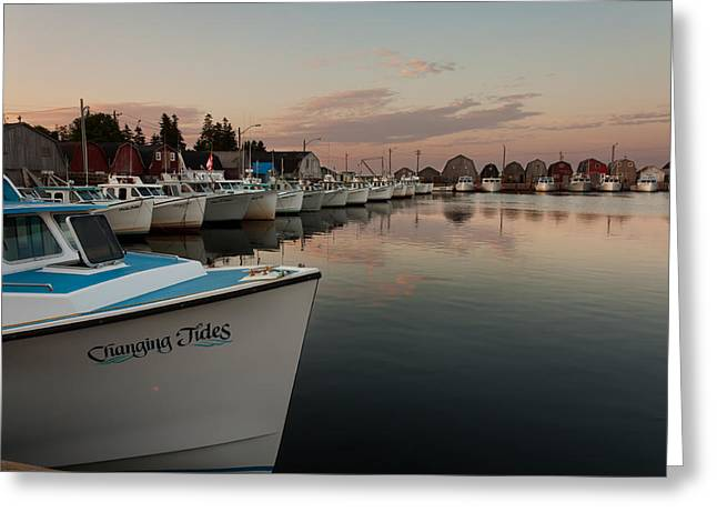 Lobster Shack Greeting Cards - Prince Edward Island Fishing Boats Greeting Card by Matt Dobson