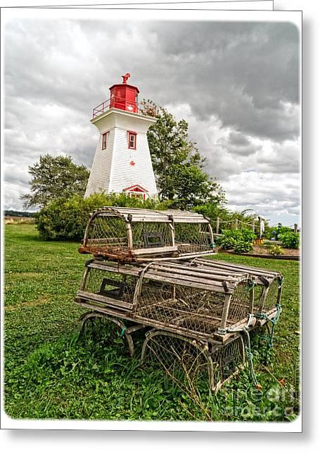 Lobster Traps Greeting Cards - Prince Edward Island Lighthouse with Lobster Traps Greeting Card by Edward Fielding
