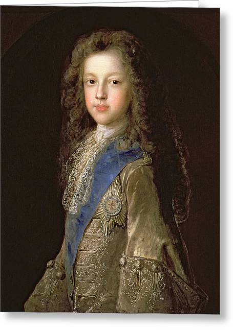 Pretender Greeting Cards - Prince James Francis Edward Stewart 1688-1766 As A Boy, 1701 Oil On Canvas_ Greeting Card by Francois de Troy