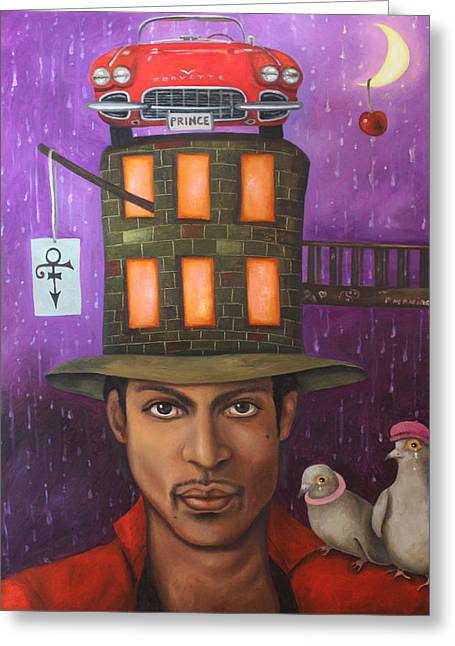 Beret Greeting Cards - Prince Greeting Card by Leah Saulnier The Painting Maniac