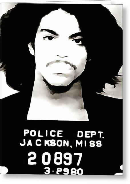 Sex Crimes Greeting Cards - Prince Mug Shot Greeting Card by Dan Sproul