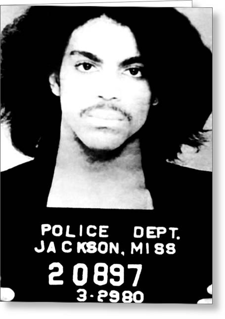 Princes Greeting Cards - Prince Mugshot Greeting Card by Unknown