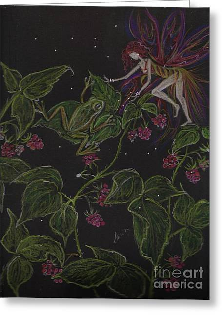 Raspberry Drawings Greeting Cards - Prince of the Berry Bushes Greeting Card by Dawn Fairies