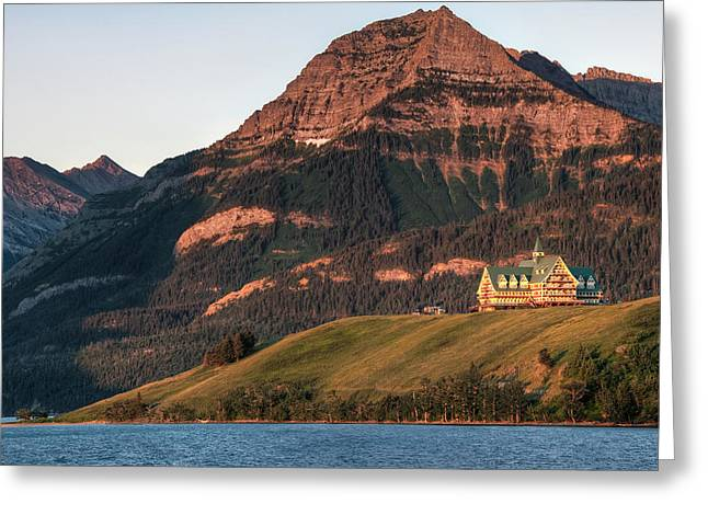 Landscapes Of Wales Greeting Cards - Prince Of Wales Hotel At Waterton Lakes Greeting Card by James Wheeler
