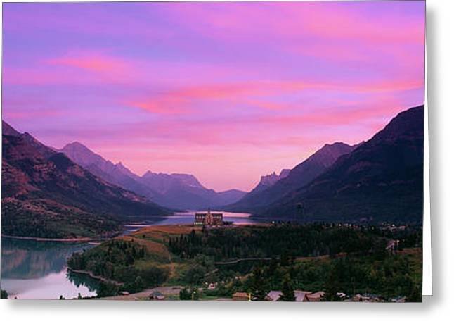 Prince Of Wales Hotel In Waterton Lakes Greeting Card by Panoramic Images