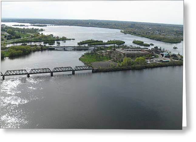 Aerial Greeting Cards - Prince of Wales Railroad Bridge Panorama Greeting Card by Rob Huntley