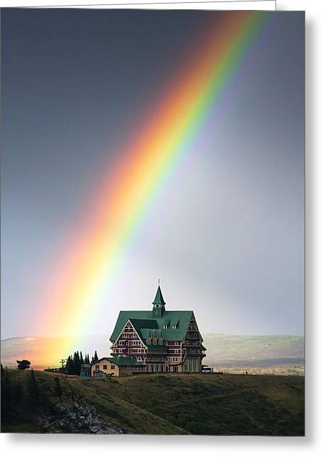 Alberta Landscape Greeting Cards - Prince of Wales Rainbow Greeting Card by Mark Kiver