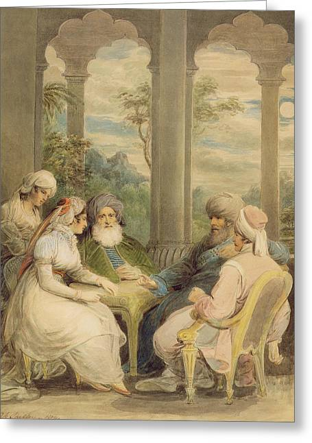 Attendant Greeting Cards - Prince Rasselas And His Sister Conversing In Their Summer Palace On The Banks Of The Nile, 1804 Wc Greeting Card by Samuel Shelley