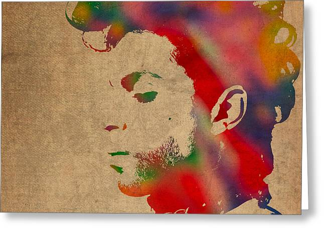 Princes Mixed Media Greeting Cards - Prince Watercolor Portrait on Worn Distressed Canvas Greeting Card by Design Turnpike