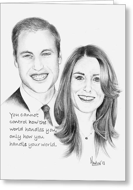 William And Kate Greeting Cards - Prince William and Kate Greeting Card by Dave Lawson