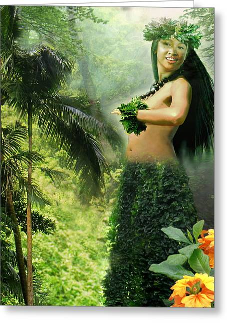 """photo Manipulation"" Paintings Greeting Cards - Princes of the Hawaiian Forest Greeting Card by Gina Femrite"