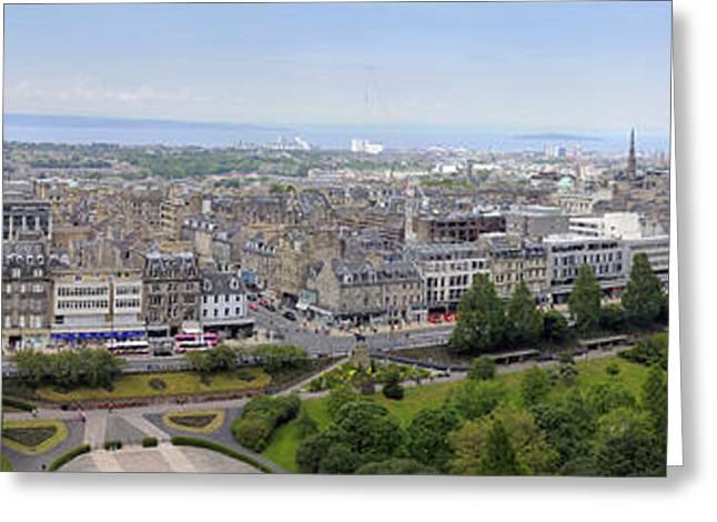 Norman Pogson Greeting Cards - Princes Street Edinburgh Panorama Greeting Card by Norman Pogson