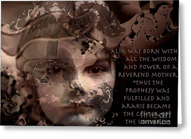 Prophesy Greeting Cards - Princess Alia of Dune Greeting Card by Ursula Freer